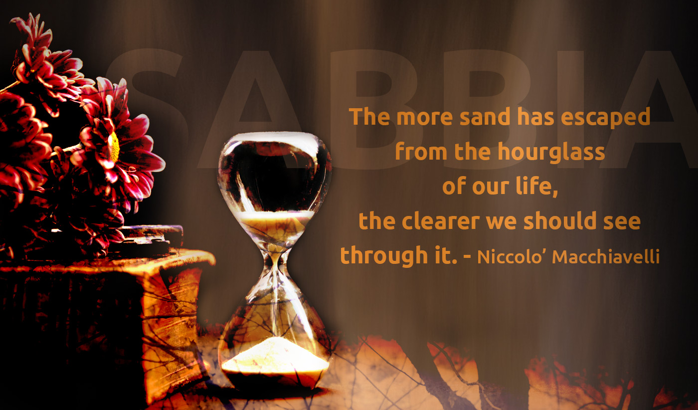 daily inspirational quote image: dark image of a hourglass, next to an old book with some red flowers