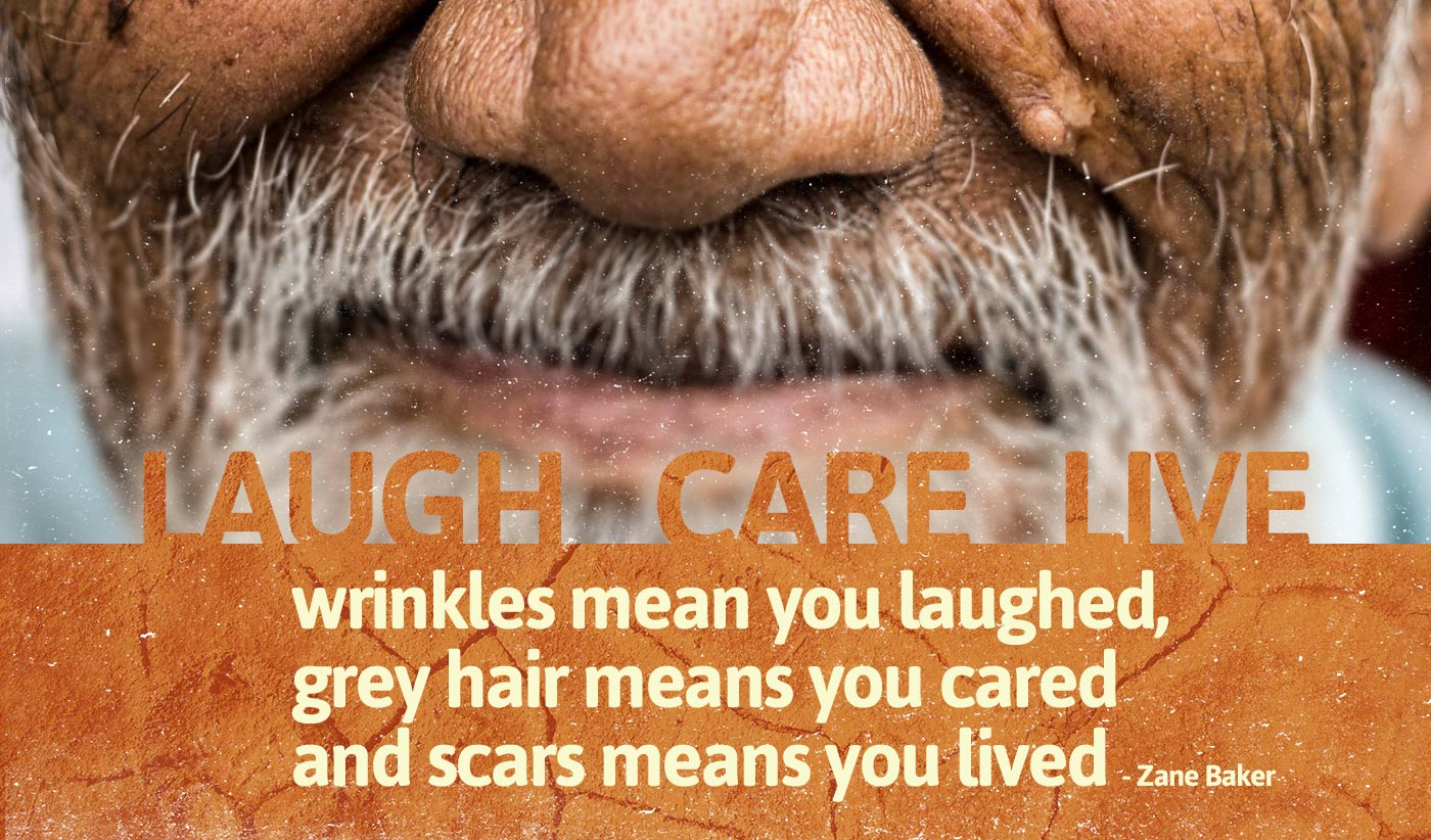 daily inspirational quote image: close up of an old face, with wrinkles and white beard