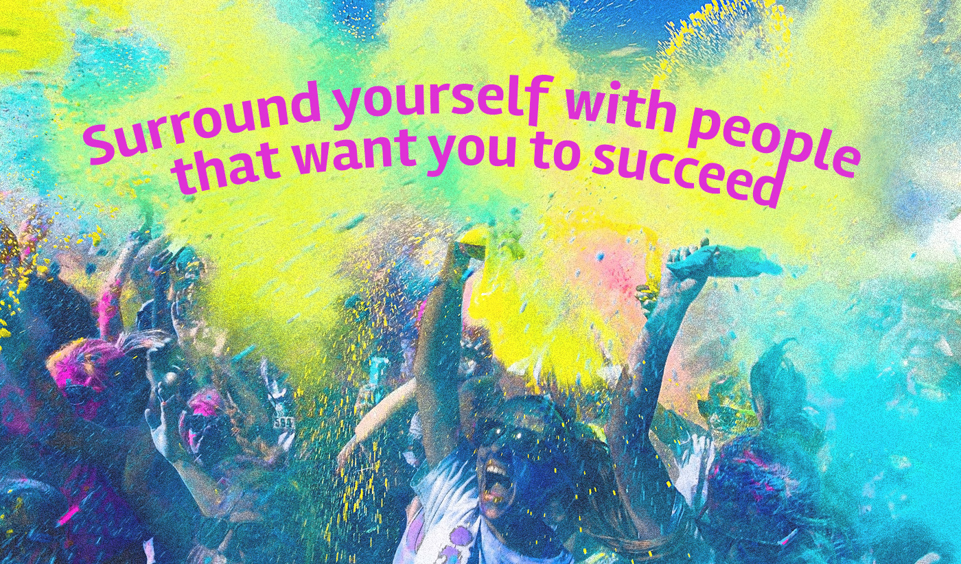 daily inspirational quote image: a goup of people being covered in colorful powder after the Color Run