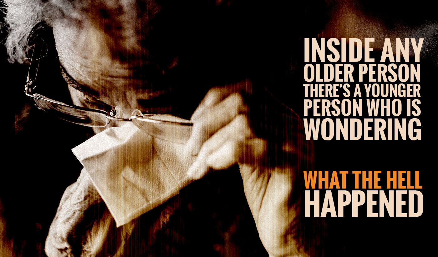 daily inspirational quote image: close up on a older woman cleaning her glasses
