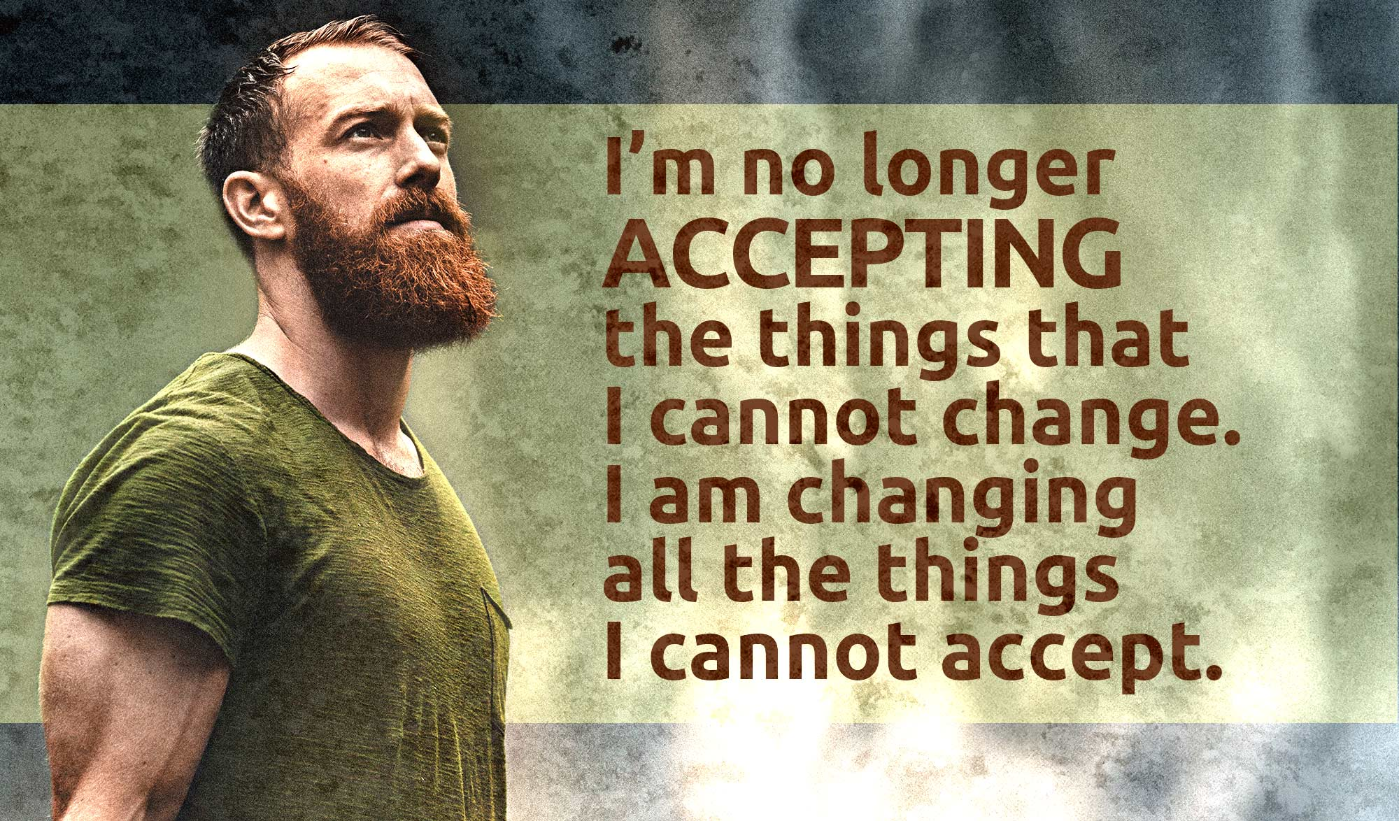 daily inspirational quote image: a red headed, bearded man, looking defiant