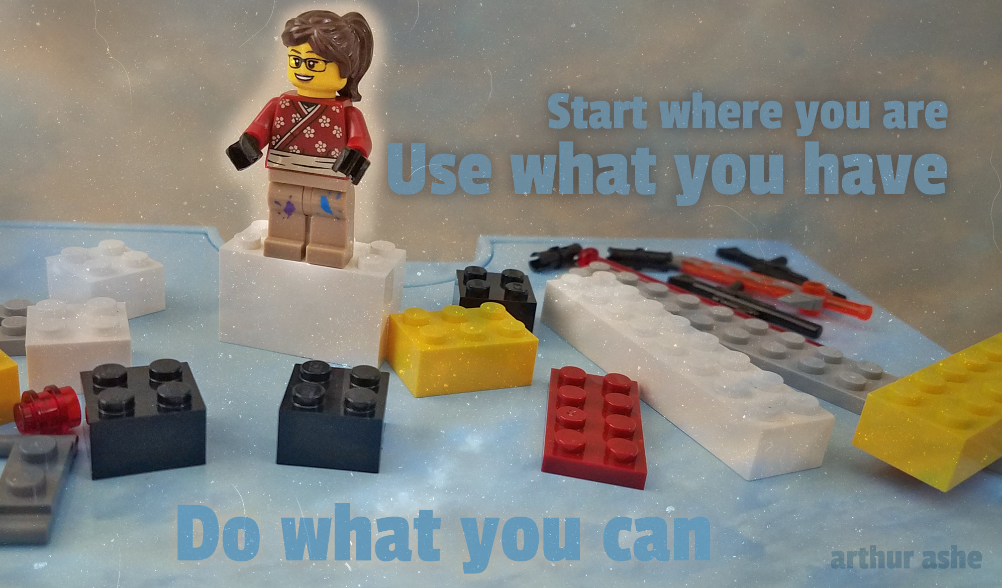 daily inspirational quote image: a LEGO femal mini figure surrounded by various Lego pieces
