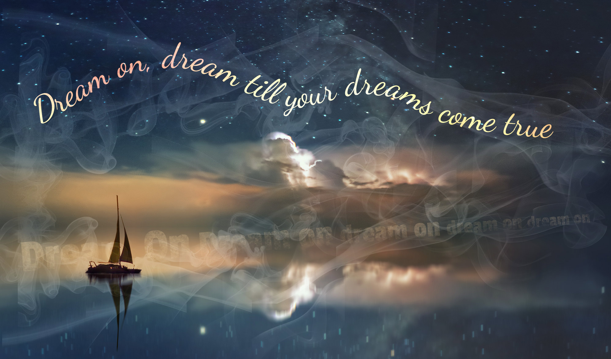 daily inspirational quote image: a dreamlike scene with a sailboat sailing in the sky