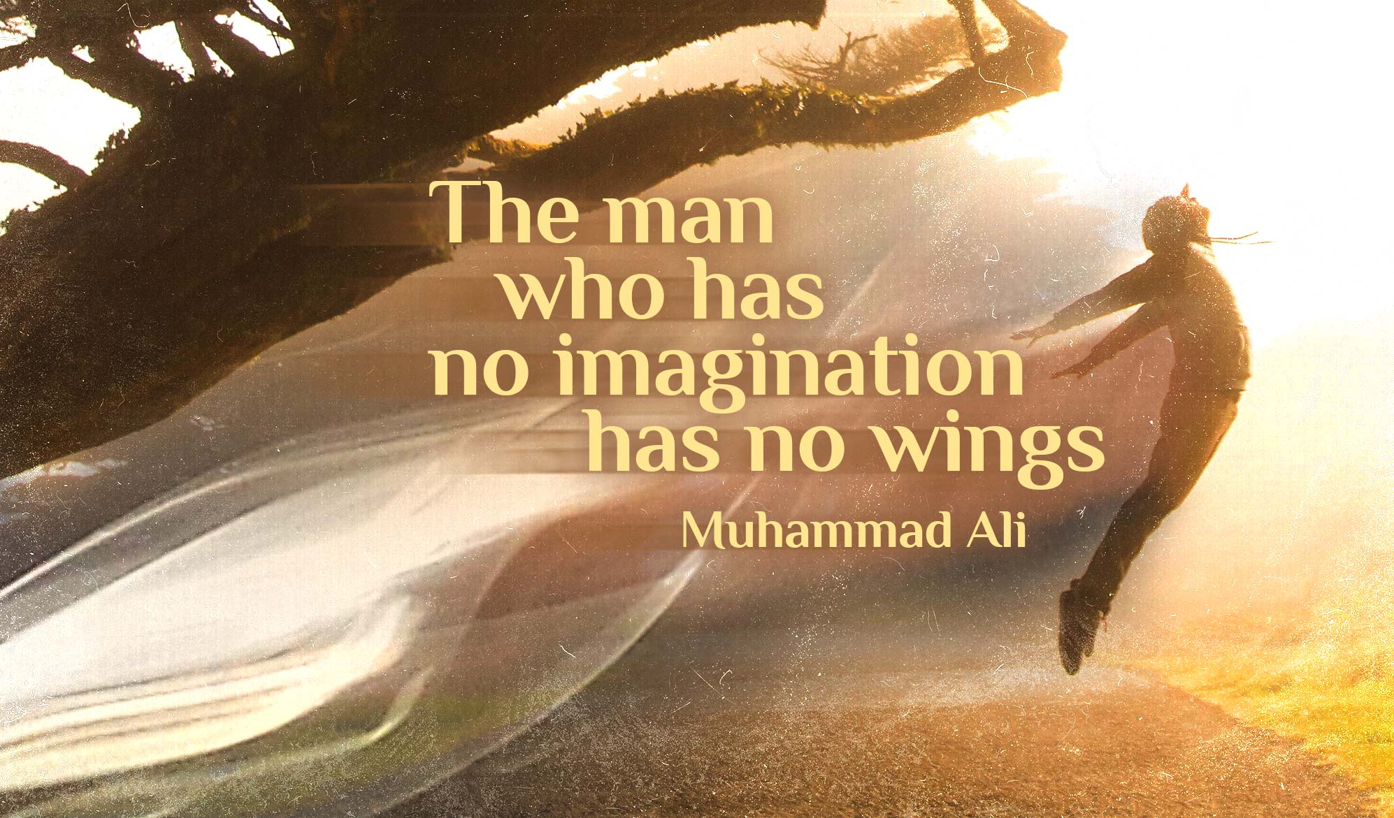 daily inspirational quote image: a man jumping while arching his back below a tree, during the golden hour