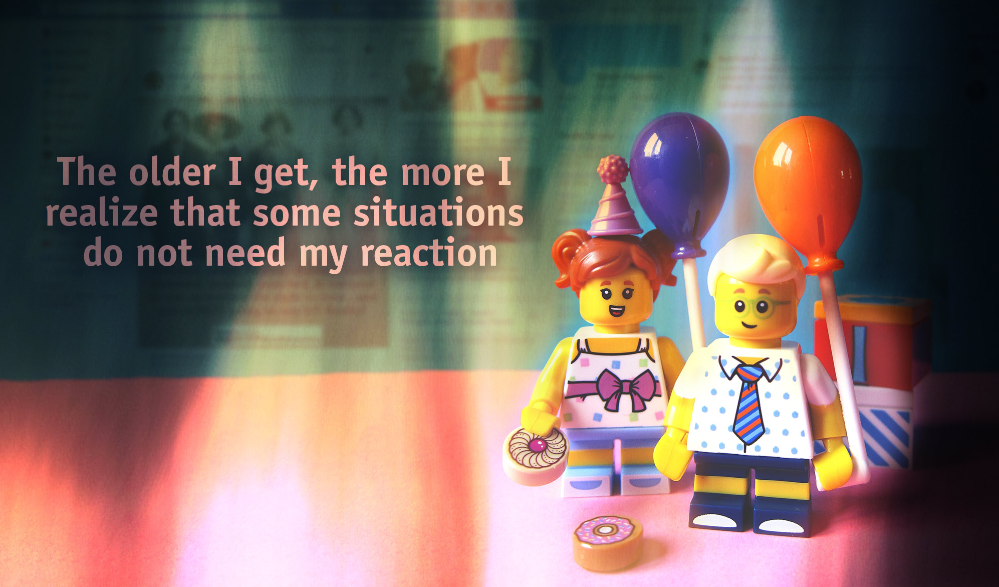 daily inspirational quote image: 2 LEGO mini people holding balloons with blurred screenshots of facebook and twitter in the background