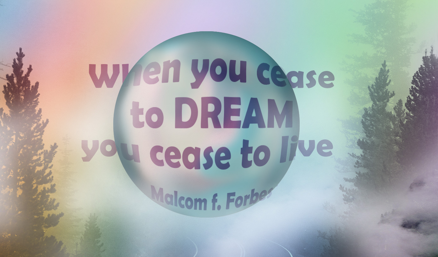 daily inspirational quote image: rainbow colored, fog with a floating bubble in the foreground