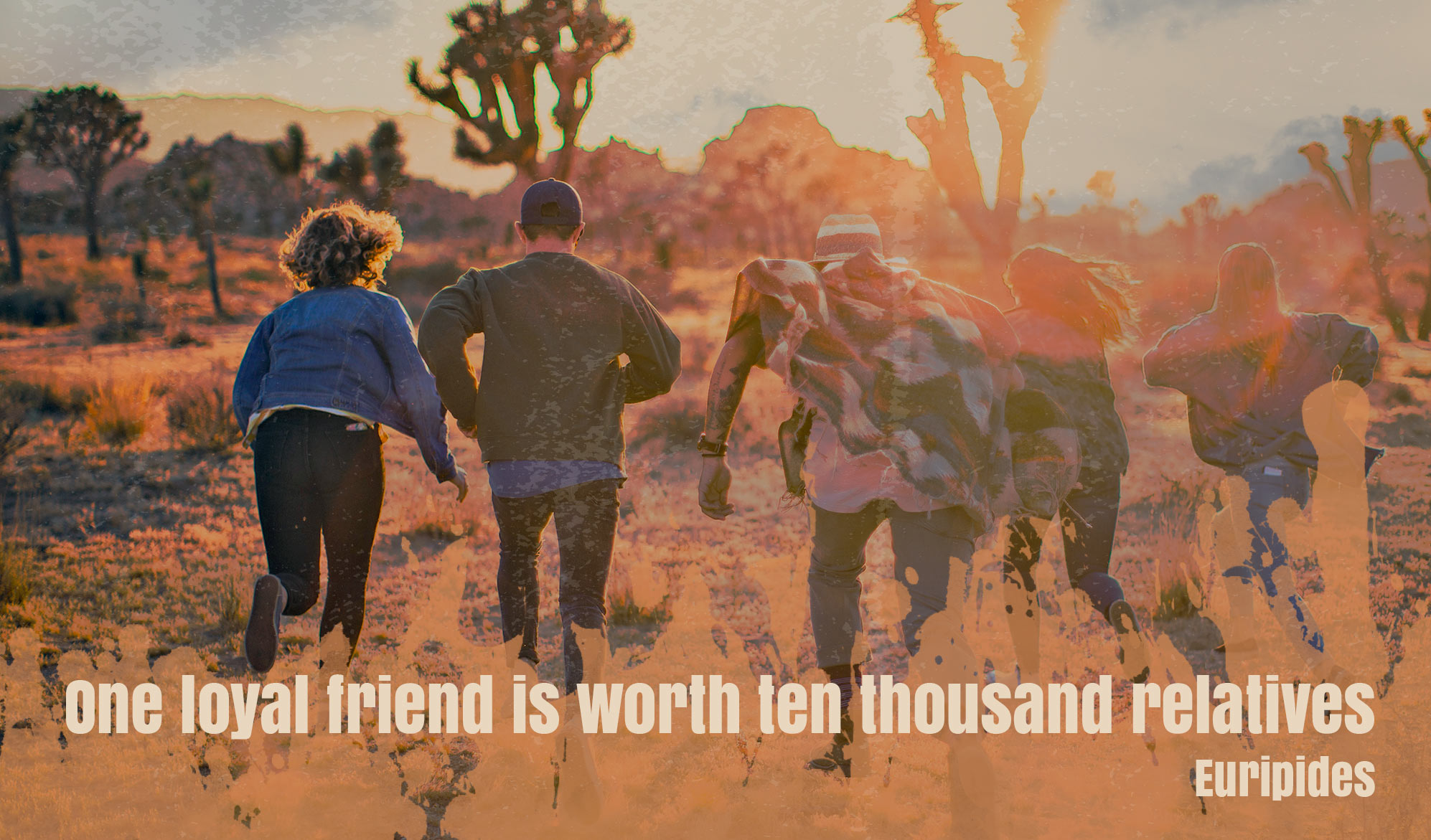 daily inspirational quote image: 5 friends running towards the sunrise at Joshua Tree National Park