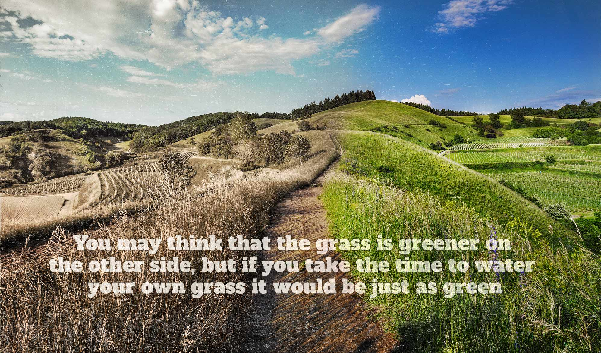 daily inspirational quote image: rolling hills, lushiously green on one side, and brown on the other