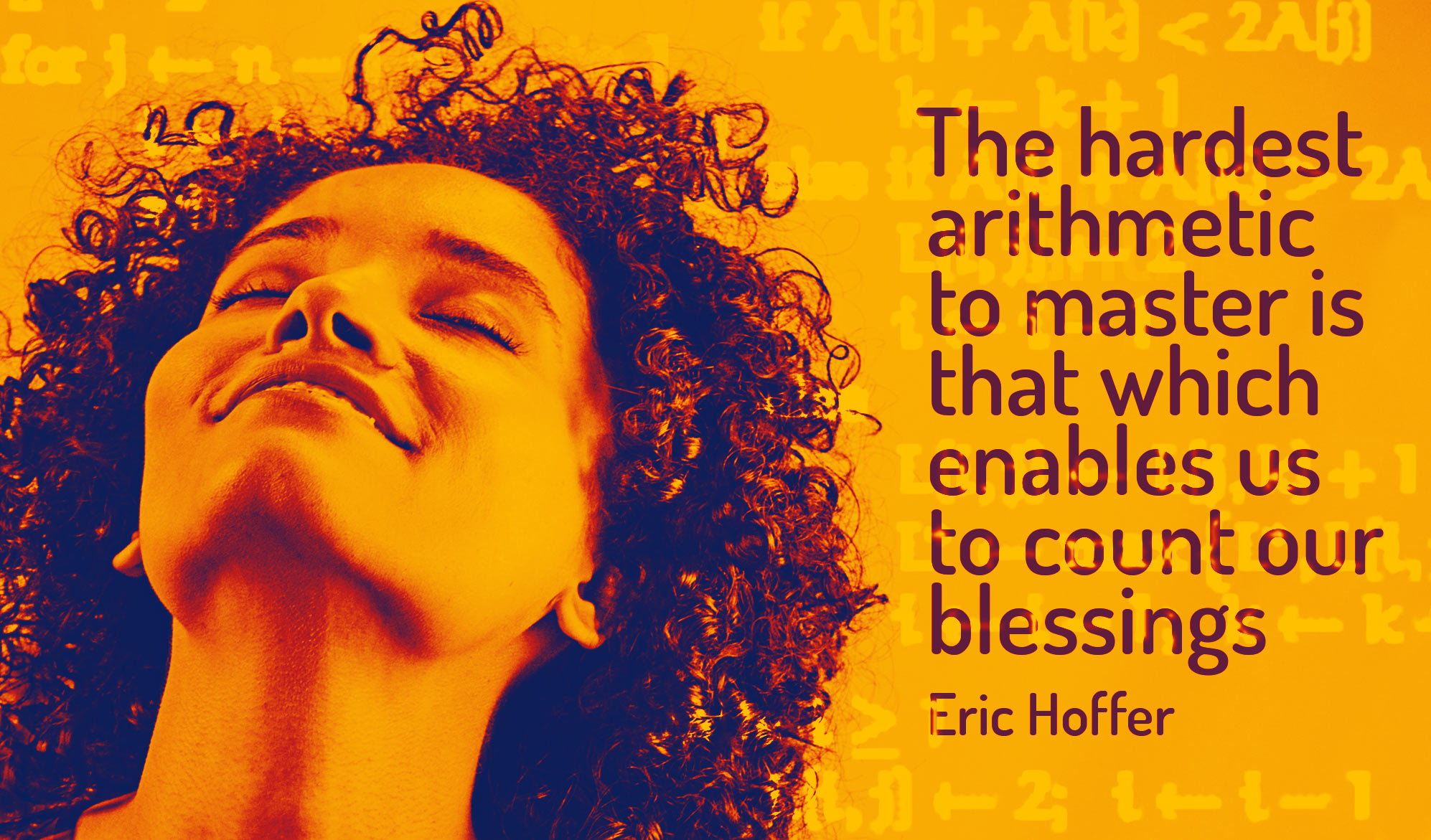 daily inspirational quote image: happy woman lifting her chin up with eyes closed, bathed in yellow and purple light