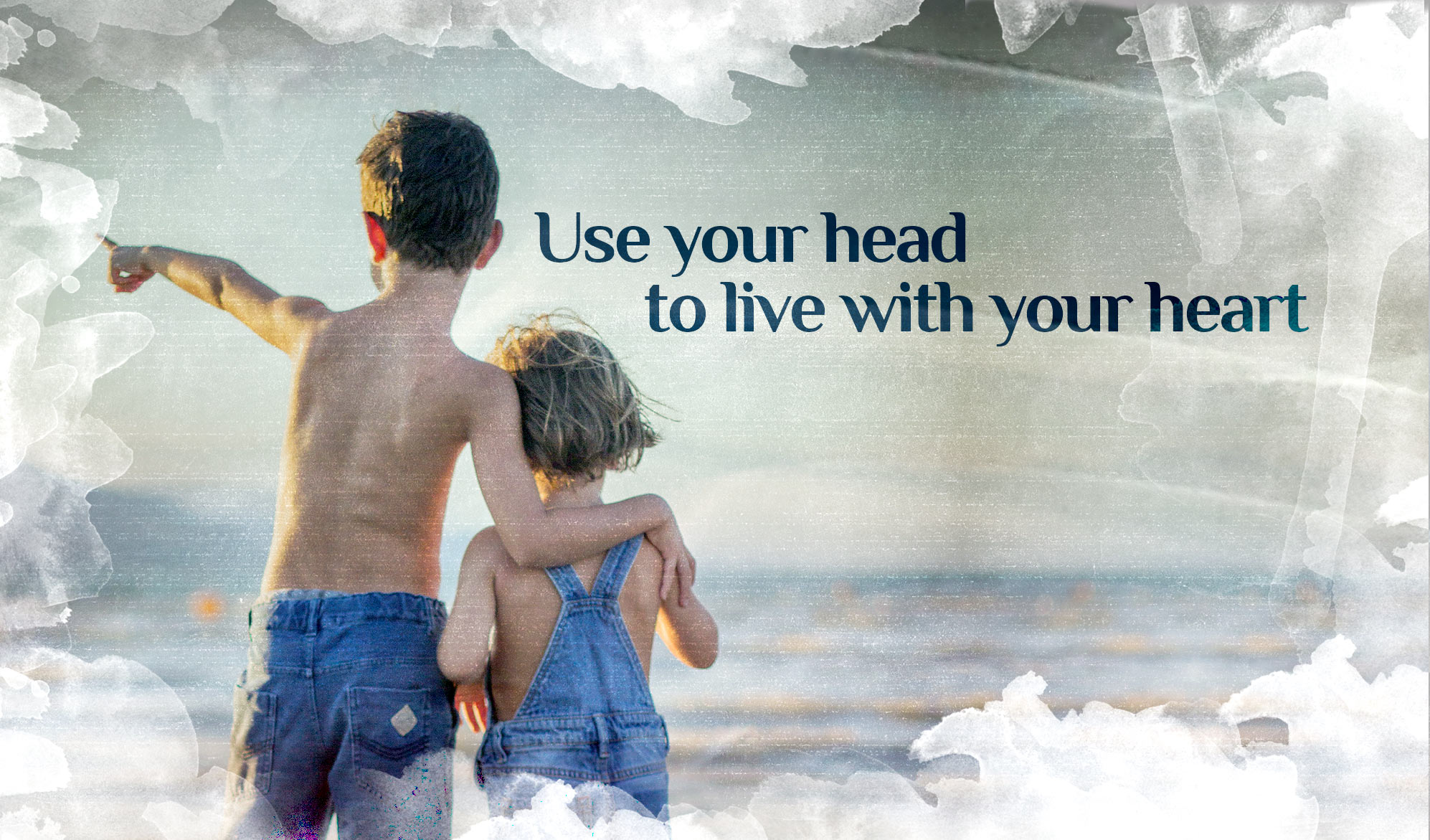 daily inspirational quote image: a young boy and a young girl looking at the horizon at the beach