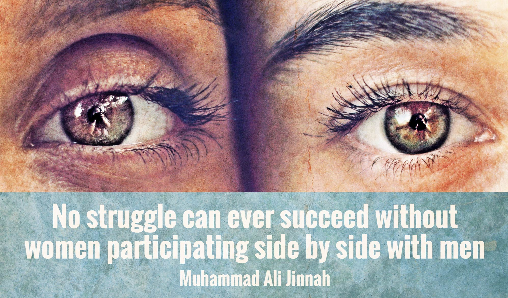 daily inspirational quote image: close up on two women's eyes, side by side