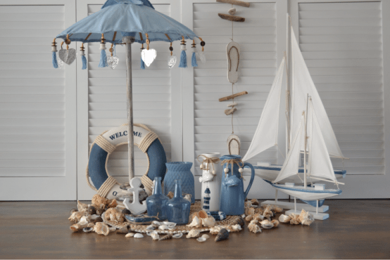 Bootjes, Parasol & Strand Blauw