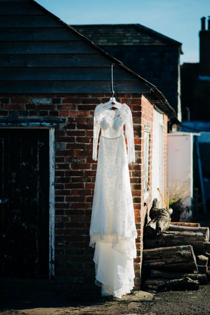 Wedding Dress Hanging up at Great Barn