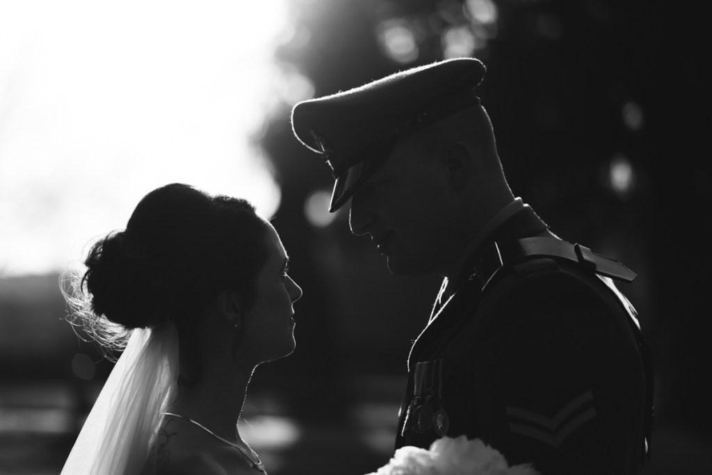 backlit wedding photograph