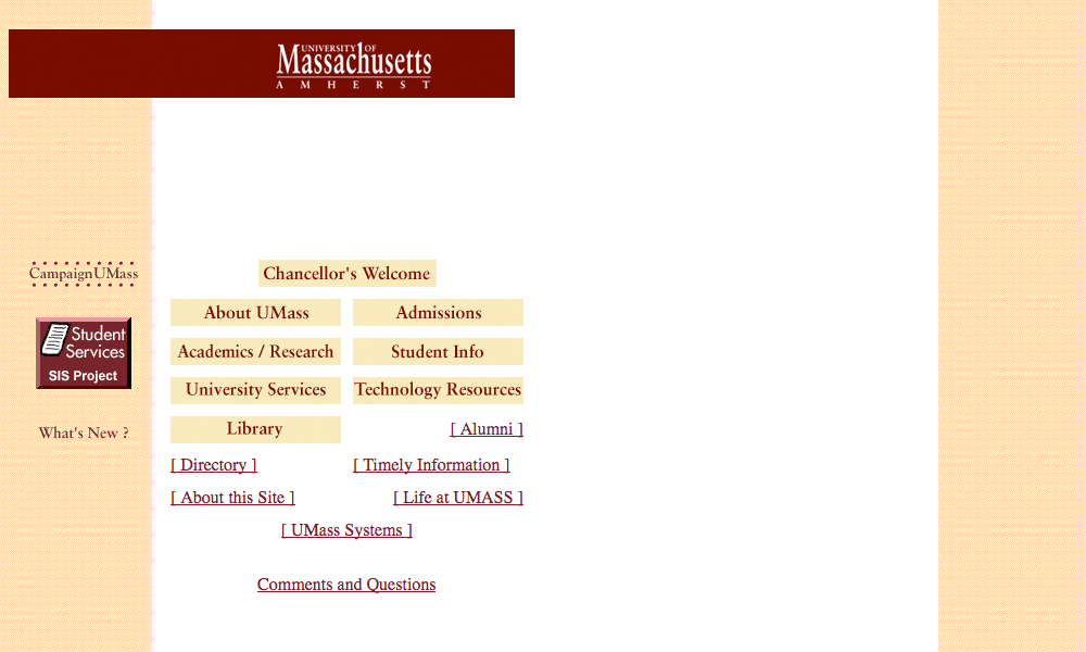 Screenshot of UMass Amherst website homepage, as of February 28, 1997.