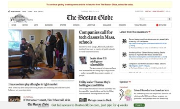Boston Globe responsive website, desktop view.