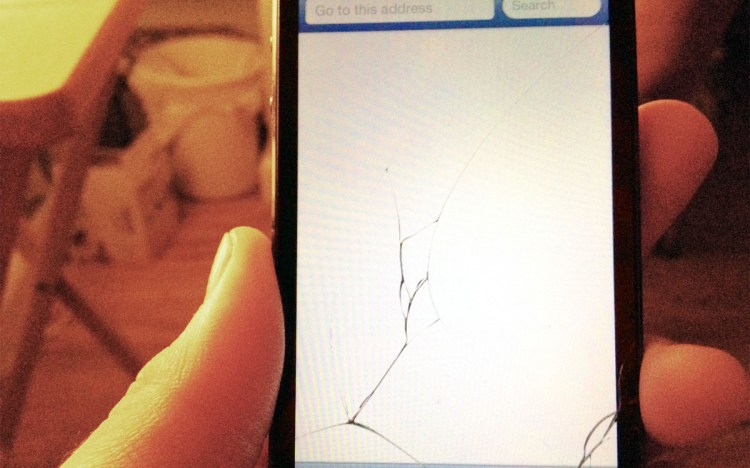 Broken iPhone screen.
