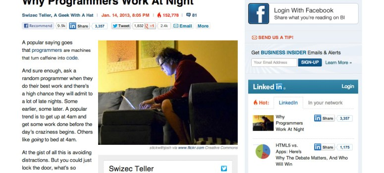 Business Insider blog post layout.
