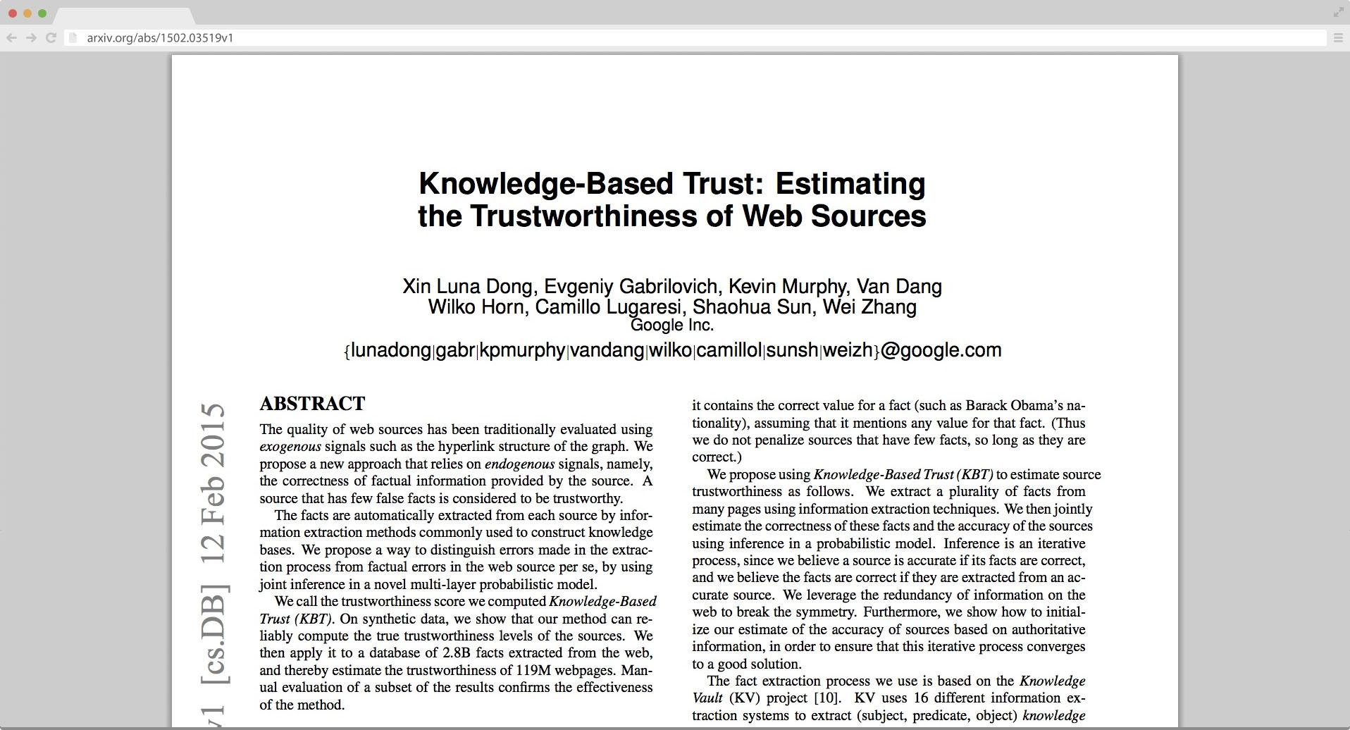 Google fact algorithm update - Research paper.