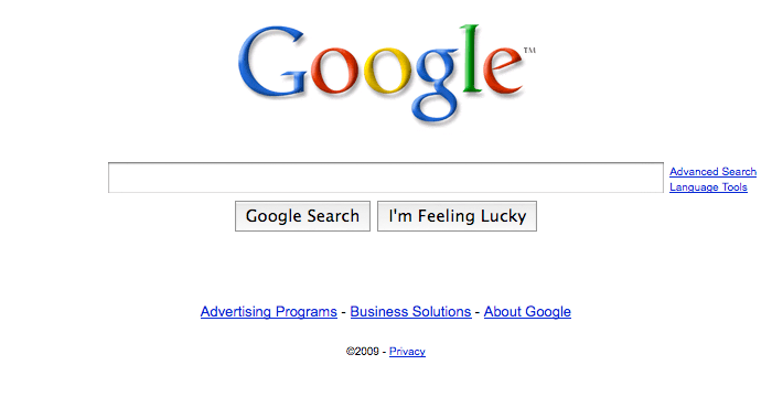 A screenshot of Google's homepage, showing their recent changes.