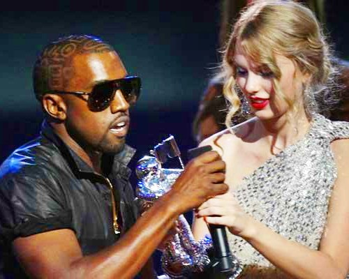A photo of Kanye West being a jerk to Taylor Swift.
