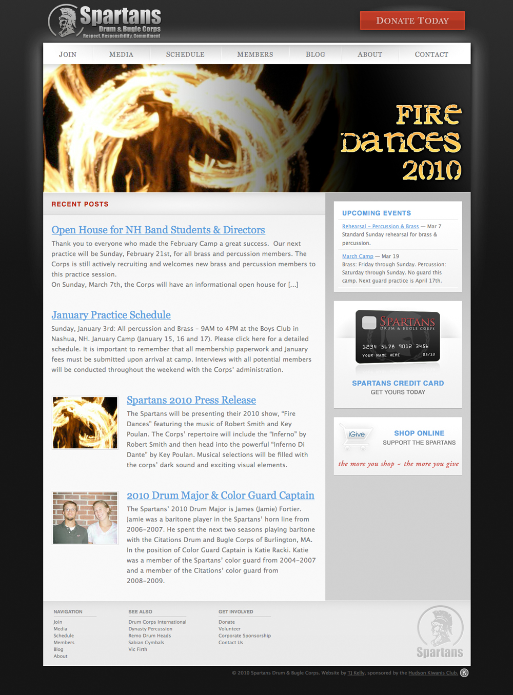 Screenshot of The Spartans Drum & Bugle Corps website.