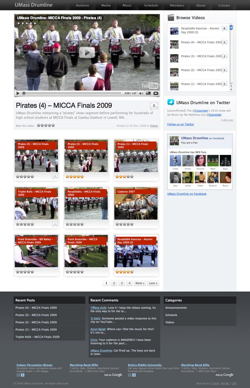 A screenshot of the UMass Drumline website.