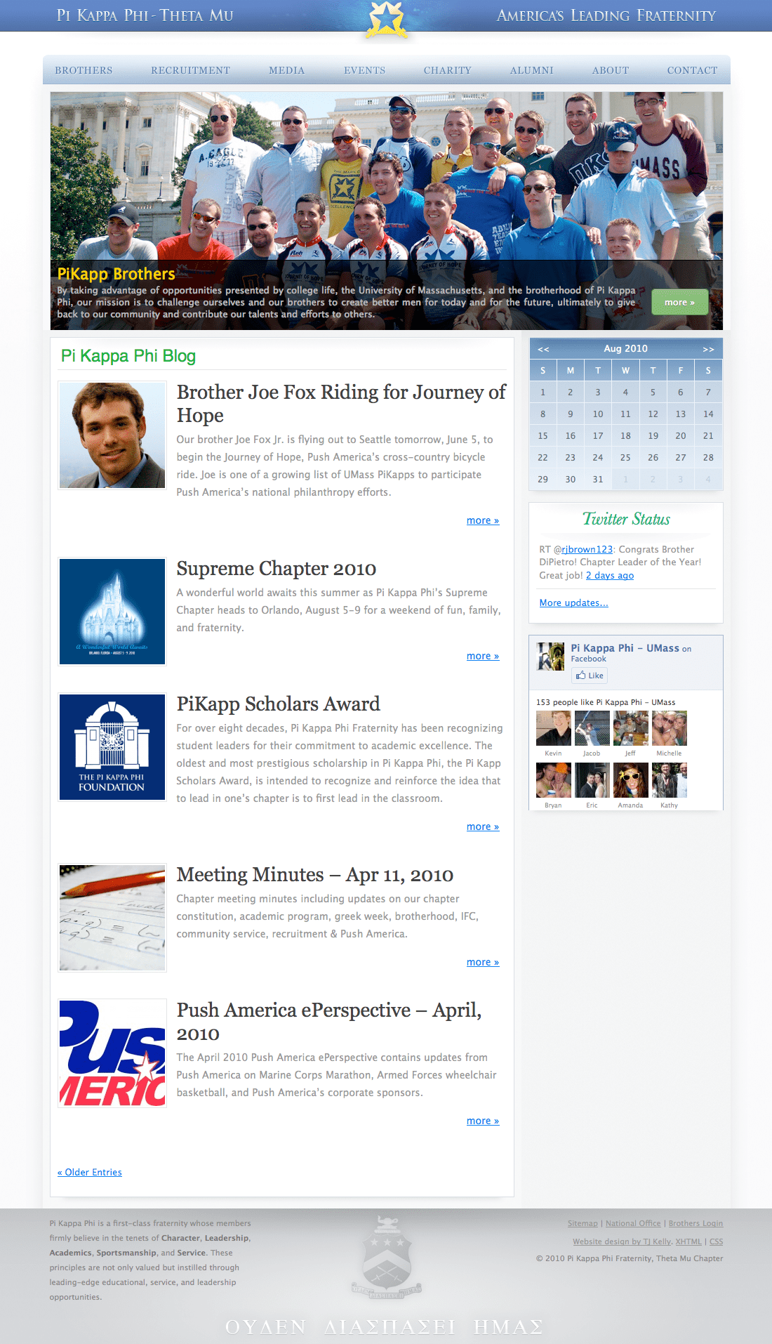 A screenshot of my design, the best chapter website in Pi Kappa Phi.