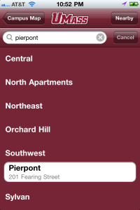 An image of UMass Amherst iPhone app, Building Finder search screen (4).