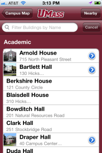 An image of UMass Amherst iPhone app, Building Finder screen.