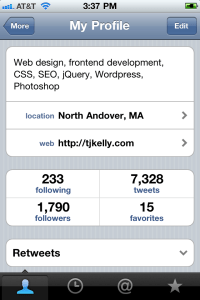 An image of UMass Amherst iPhone app, Tweetie screen for comparison.