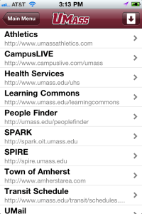 An image of UMass Amherst iPhone app, Helpful Links screen.