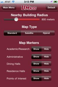 An image of UMass Amherst iPhone app, Settings screen.