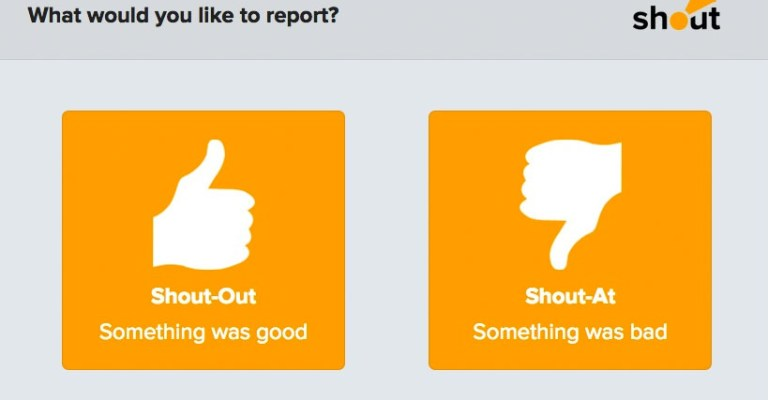 Shout User Testing form: Report thumbs.