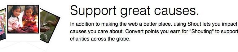 Shout User Testing: Promo 3, Good causes.