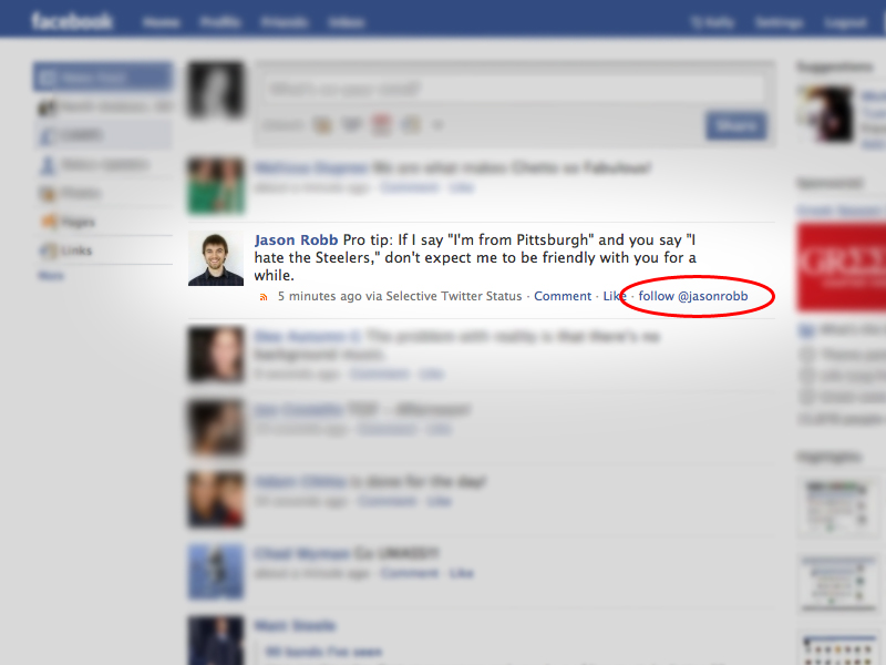 "A screenshot of my Facebook News Feed, showing a ""follow @jasonrobb"" link."