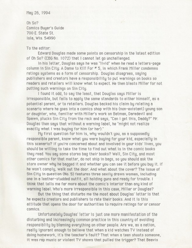 Letter to CBG, May 26, 1994, page 1