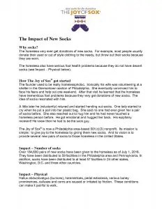 The Impacts of New Socks for the homeless by The Joy Of Sox, a nonprofit that simply provides joy to the homeless with new socks. www.TheJoyOfSox.org