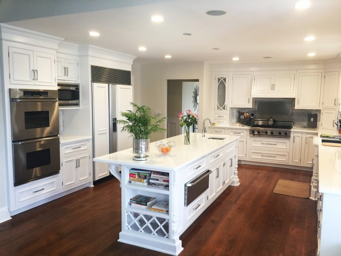 Custom White Kitchen Cabinet Refinishing