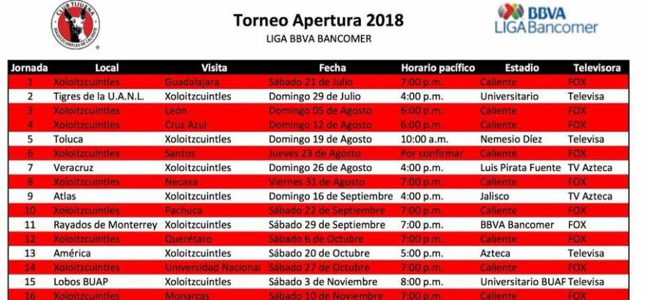 Calendario De Liga Bbva 15 16.Xolos Conoce Su Calendario Para El Apertura 2018 Tj Sports