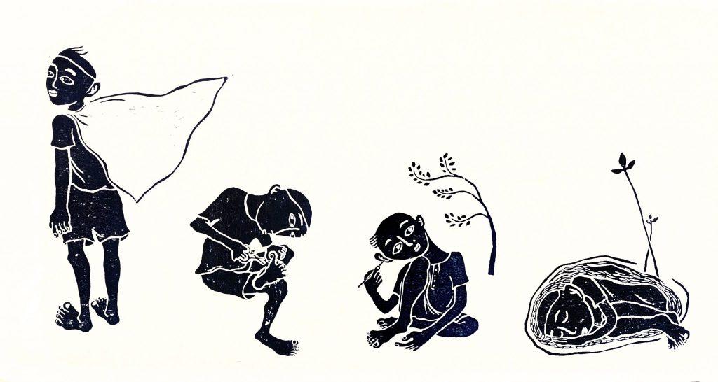 有四個黑色的人,一個披著披風站著,一個在剪腳指甲,一個在掏耳朵,一個在睡覺