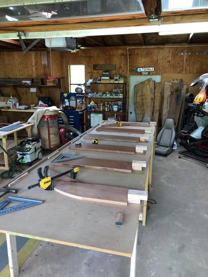 Support boards set for sapele mahogany swim platform