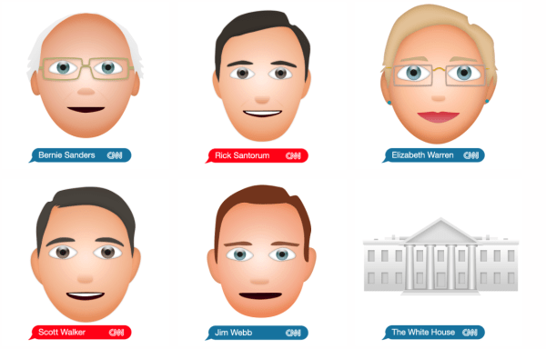 6 of the 21 Emojis | Courtesy CNN