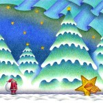 "Illustrations of ""Christmas tree, Aurora, Snowfield, Twinkle star"""
