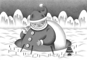 Christmas,Christmas Eve,Xmas,Santa,Santa Claus,Snow,Snow scene,Snowfield,Snow mountain,White Christmas,Christmas tree,Huge,Giant,Snow cover,Big man,Fairy tale,Fantasy