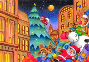 Christmas,Christmas Eve,Xmas,Santa,Santa Claus,Town,Old town,Toy,Plush Doll,Doll,Christmas tree,Starry sky,Starry night,Month,Moonlit night,City lights,Fantasy,Fairy tale