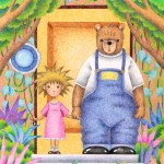 "Illustrations of ""Bear, Girl, Friend, Flower garden, Fairy tale"""