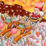"""Illustrations of """"White Christmas, Snow Country, Reindeer, Sled"""""""