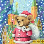 "Illustrations of ""Teddy bear, Church, Snowfall, Santa Claus"""