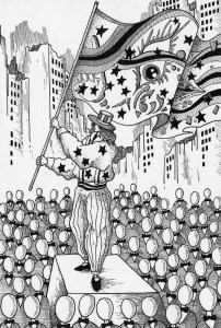 Pen drawing,Ink drawing,Pen sketch,Ink sketch,Pen and Ink,Monochrome,Sepia,Crowd,Audience,Independence day,Building,City,Large number,People,Leader,Reformer,Flag,Agitation,End of the century,Future society,Future world,Science fiction